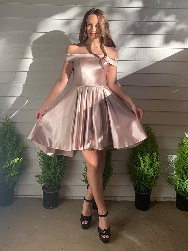 A-Line/Princess Off-the-Shoulder Satin Sleeveless Ruffles Short/Mini Homecoming Dresses