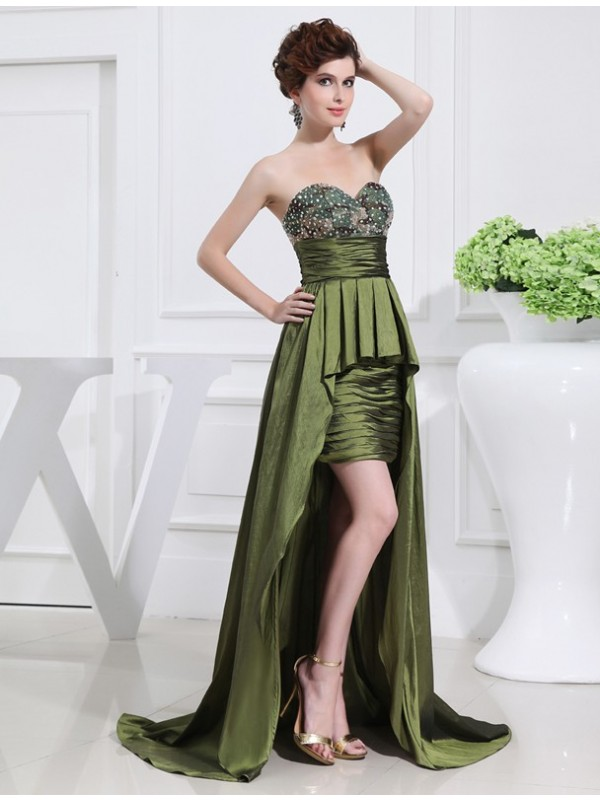 A-Line Sweetheart Asymmetrical Dark Green Prom Dresses