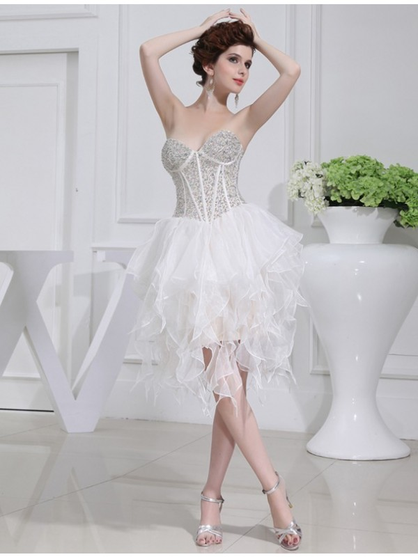Organza A-Line Short/Mini Sweetheart White Homecoming Dresses