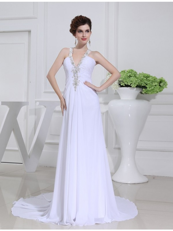 A-Line Chiffon V-neck Court Train White Wedding Dresses