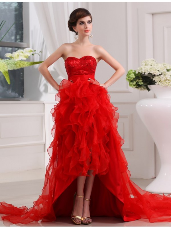 Organza Sweetheart Asymmetrical Red Prom Dresses