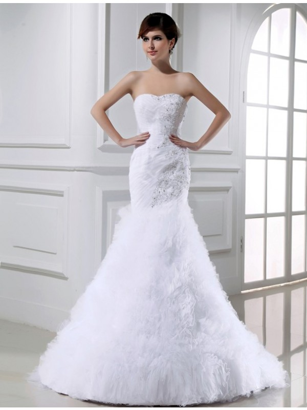 Tulle Strapless Court Train White Wedding Dresses