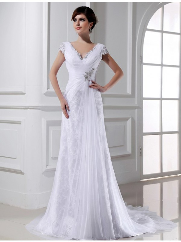 White V-neck Tulle Court Train Wedding Dresses