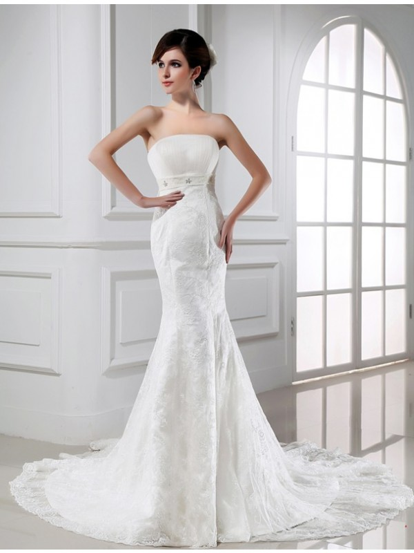 Mermaid Strapless Chapel Train White Wedding Dresses with Beading