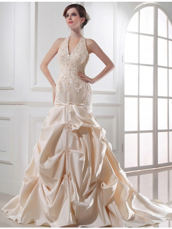 Satin Halter Chapel Train Champagne Wedding Dresses
