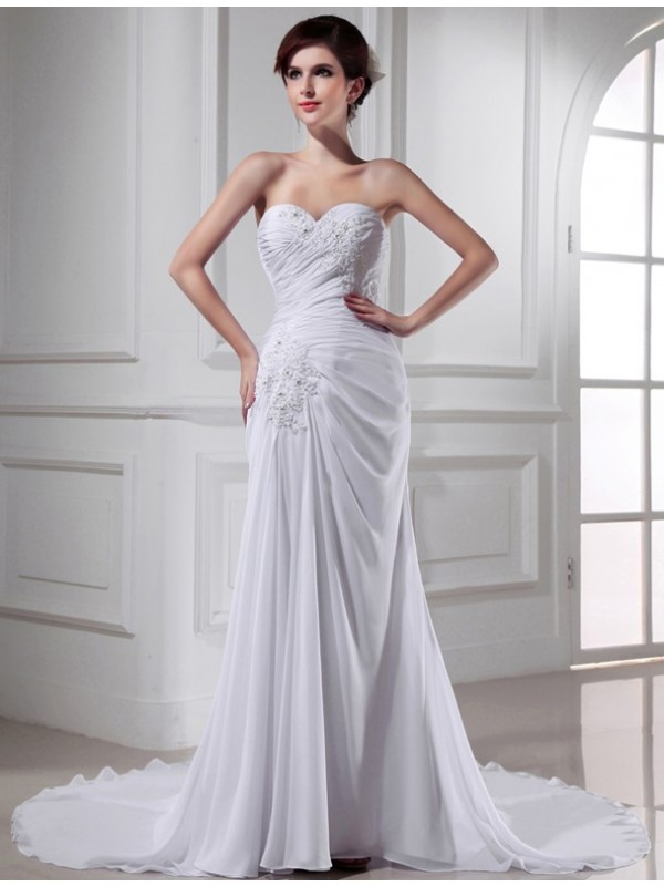 Mermaid Chiffon Sweetheart Chapel Train Wedding Dresses with Beading