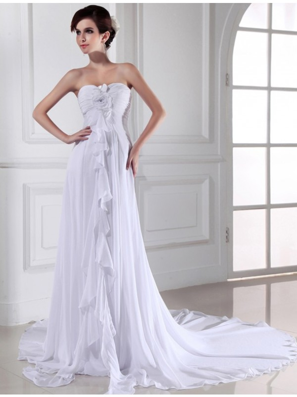 Chiffon Sheath Chapel Train Sweetheart White Wedding Dresses