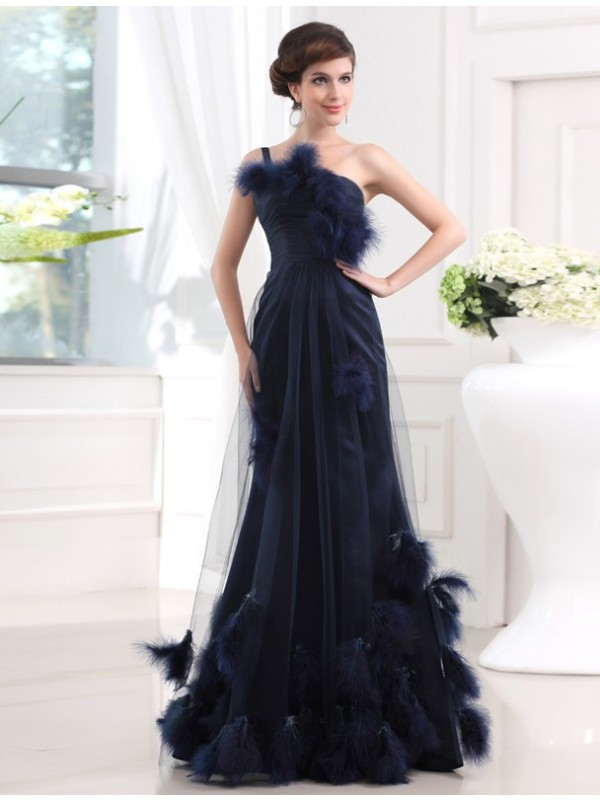Dark Navy Mermaid One-Shoulder Floor-Length Prom Dresses with Feathers/Fur
