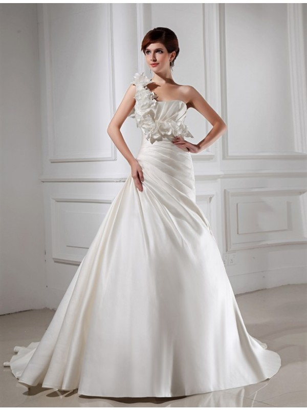 A-Line Satin One-Shoulder Chapel Train White Wedding Dresses