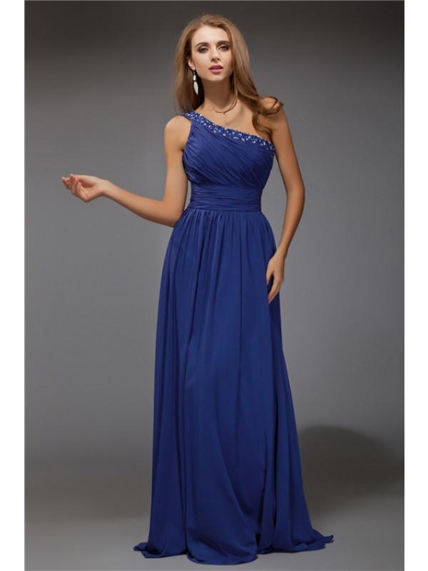 Sheath One-Shoulder Floor-Length Royal Blue Prom Dresses with Beading