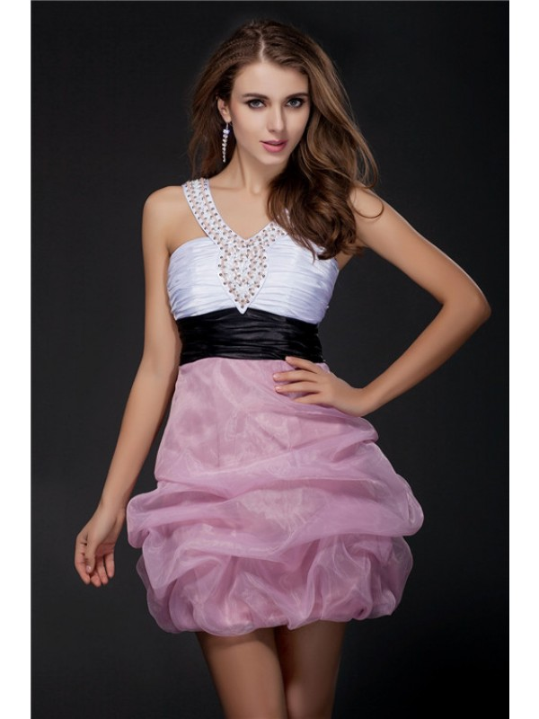 Ball Gown V-neck Short/Mini Multi Colors Homecoming Dresses