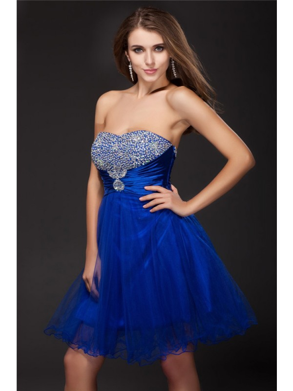 A-Line Strapless Short/Mini Royal Blue Homecoming Dresses with Beading