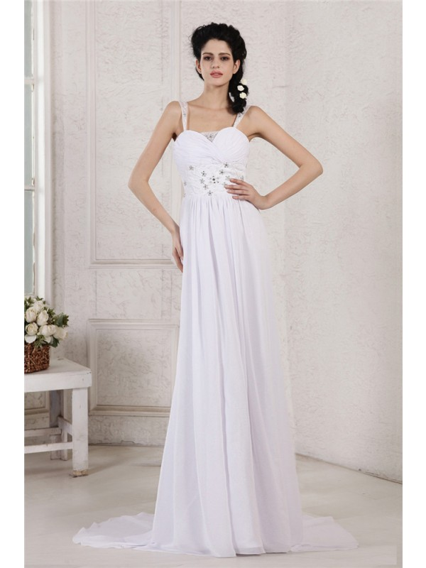 Chiffon Spaghetti Straps Court Train White Wedding Dresses