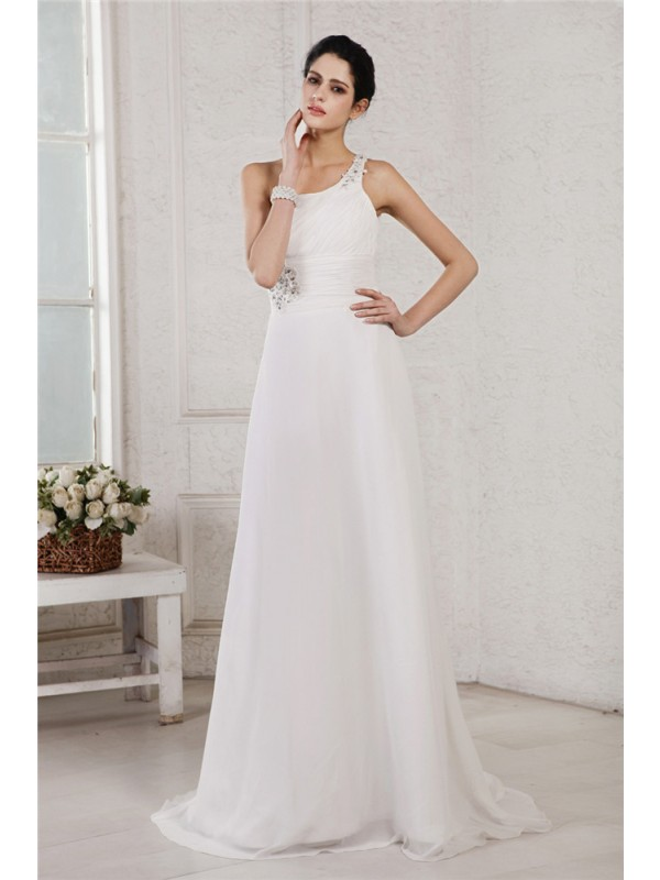 White A-Line One-Shoulder Brush Train Wedding Dresses with Beading