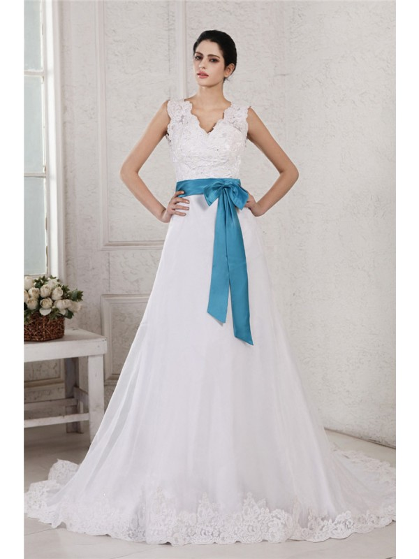 White V-neck Satin Chapel Train Wedding Dresses