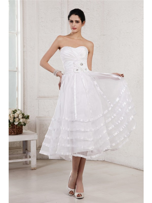 A-Line Strapless Tea-Length White Wedding Dresses