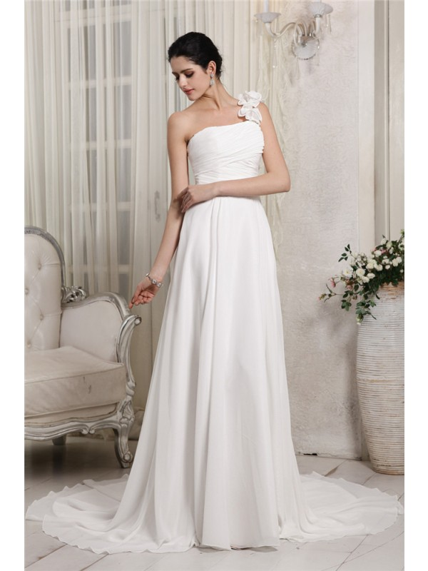 Chiffon One-Shoulder Chapel Train White Wedding Dresses