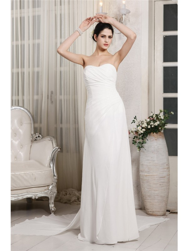 White Sheath Sweetheart Court Train Wedding Dresses with Ruffles