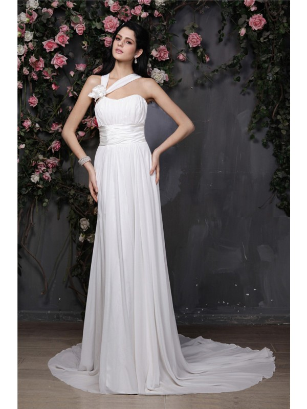 White Halter Chiffon Chapel Train Wedding Dresses