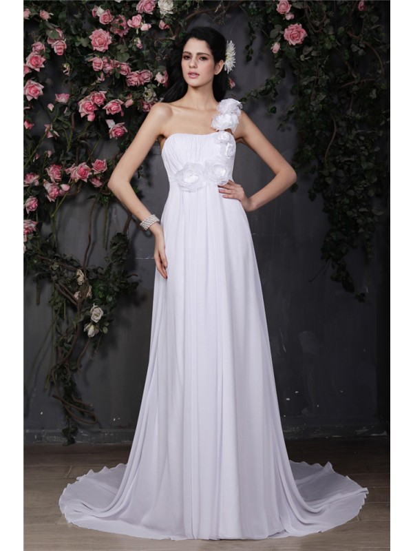 A-Line One-Shoulder Chapel Train White Wedding Dresses with Ruffles