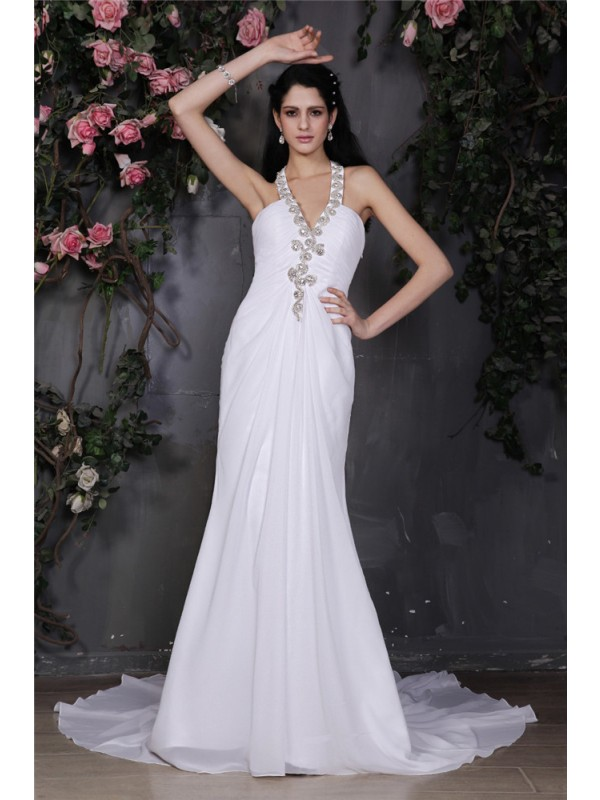 Sheath Chiffon Halter Court Train White Wedding Dresses