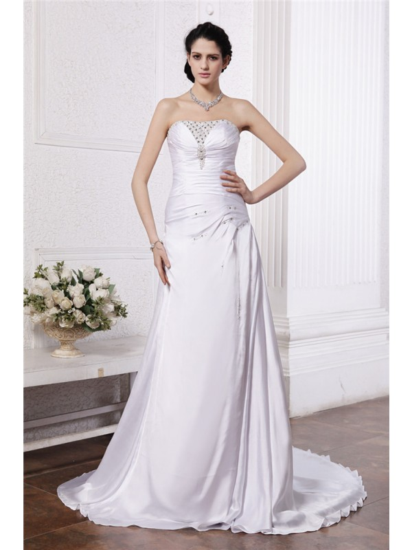 A-Line Strapless Court Train White Wedding Dresses