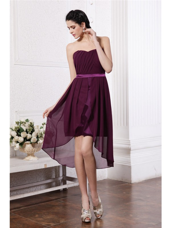 Burgundy Sheath Strapless Asymmetrical Homecoming Dresses with Sash/Ribbon/Belt