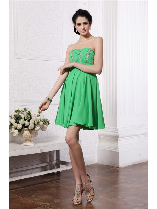 Short/Mini Green Strapless Homecoming Dresses with Beading