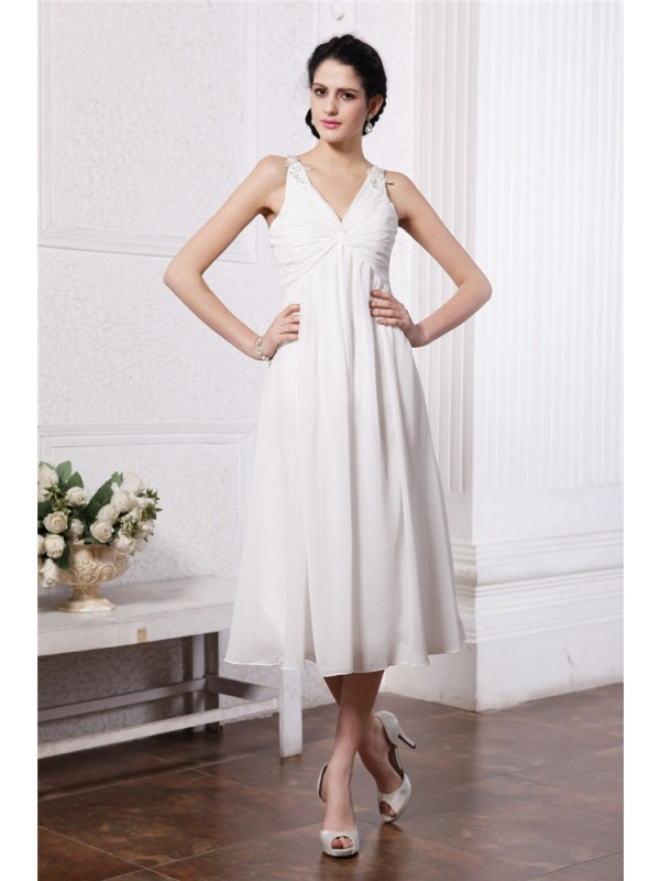Tea-Length White V-neck Bridesmaid Dresses with Beading