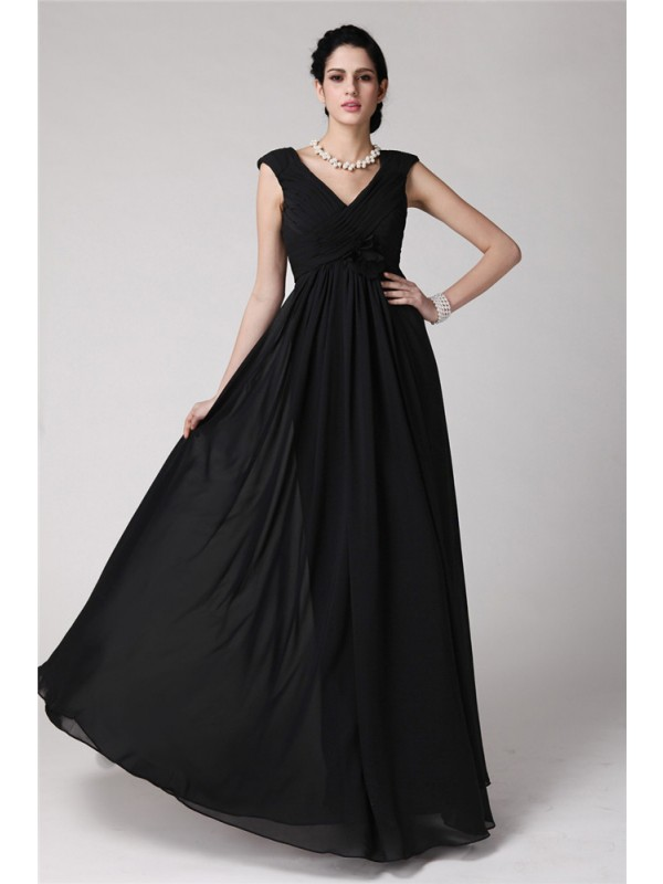 Black Sheath V-neck Floor-Length Prom Dresses with Pleats