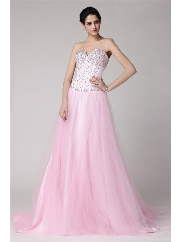Elastic Woven Satin A-Line Brush Train Sweetheart Pearl Pink Prom Dresses