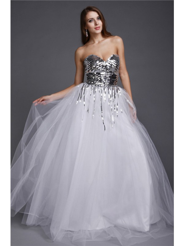 A-Line Sweetheart Floor-Length White Prom Dresses