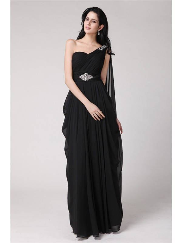 Chiffon Sheath Floor-Length One-Shoulder Black Prom Dresses