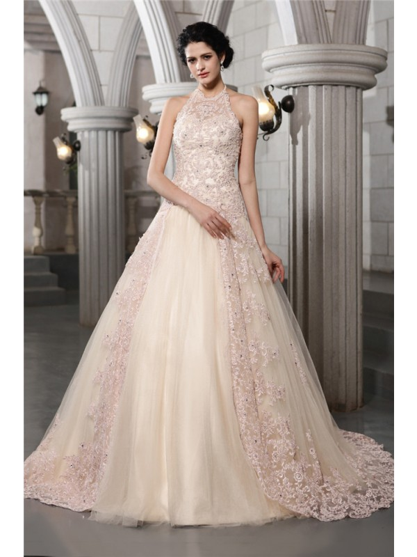 A-Line High Neck Chapel Train Champagne Wedding Dresses with Beading