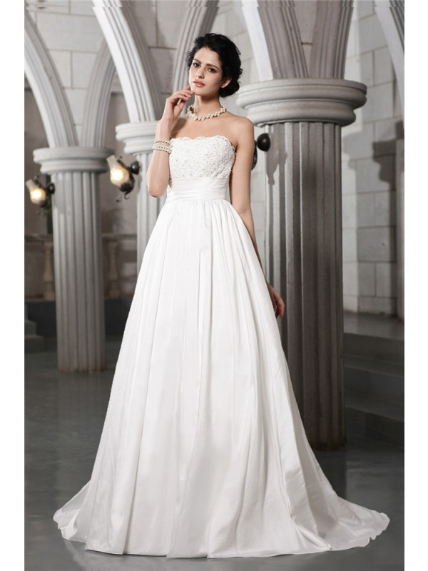 A-Line Taffeta Strapless Court Train Wedding Dresses with Beading