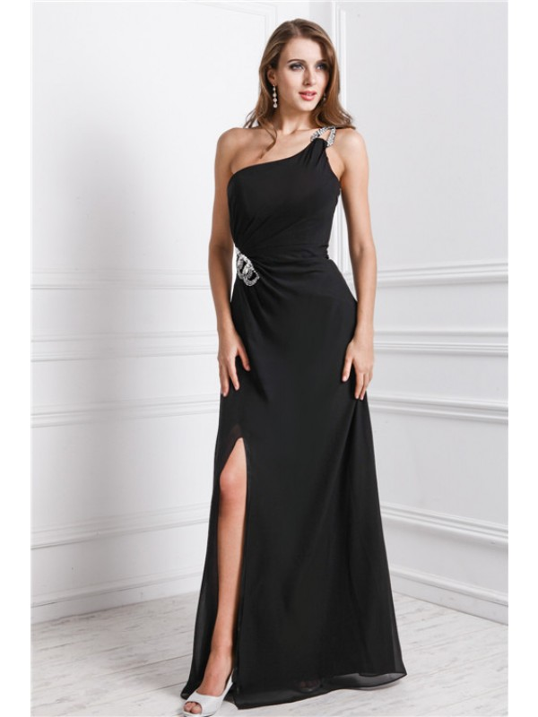 Chiffon One-Shoulder Floor-Length Black Prom Dresses