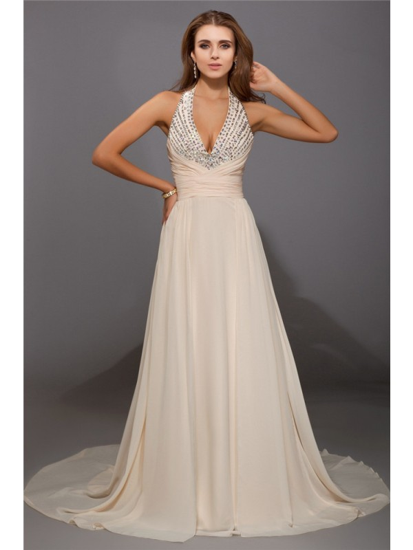 Chiffon Sheath Brush Train V-neck Champagne Prom Dresses