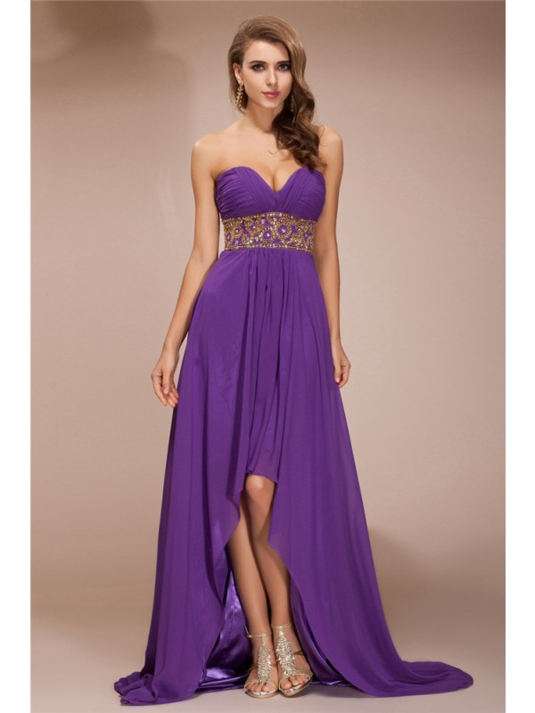Asymmetrical Lilac Sweetheart Prom Dresses with Beading