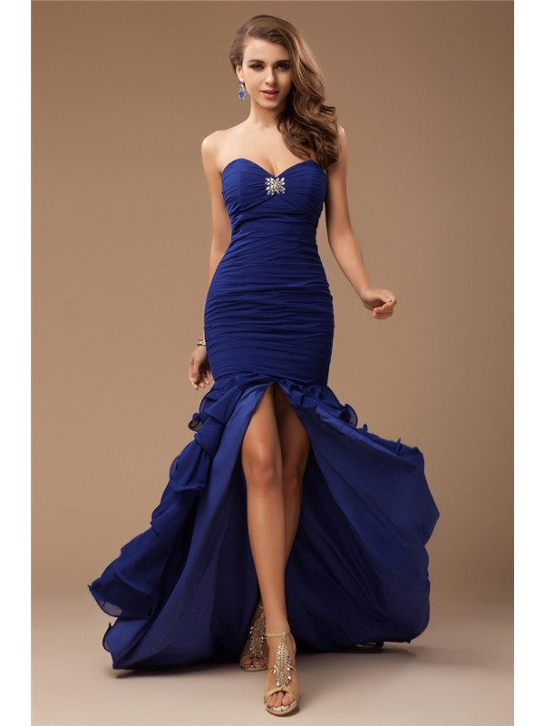 Chiffon Mermaid Brush Train Sweetheart Royal Blue Prom Dresses