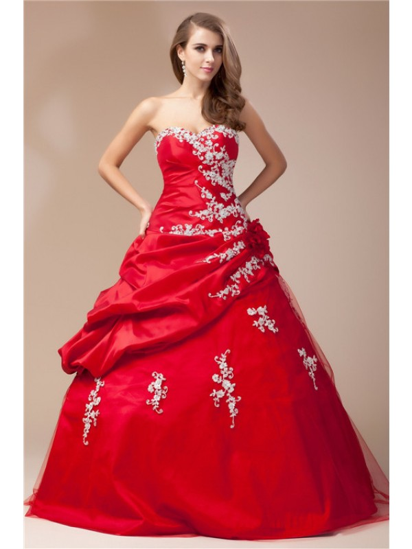 Red Sweetheart Taffeta Floor-Length Prom Dresses