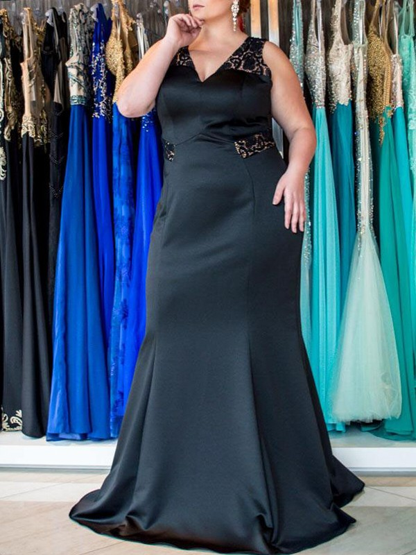 Mermaid V-neck Brush Train Black Prom Dresses