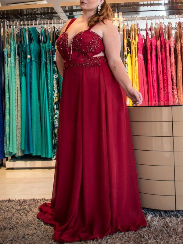 A-Line Straps Brush Train Red Prom Dresses with Beading