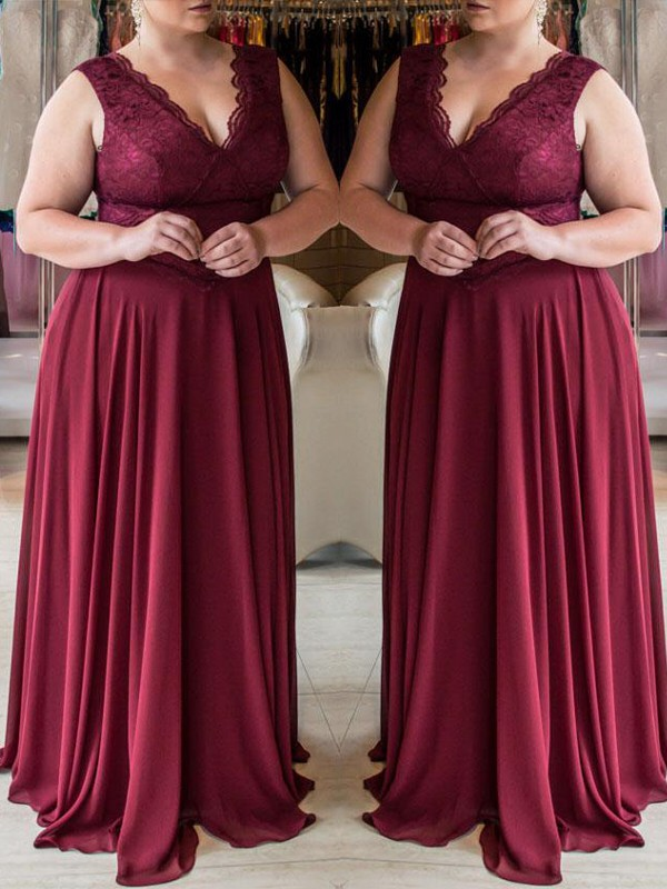 A-Line V-neck Brush Train Burgundy Prom Dresses