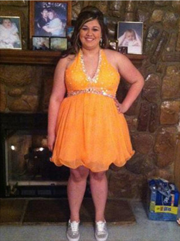Orange Halter Organza Short/Mini Prom Dresses