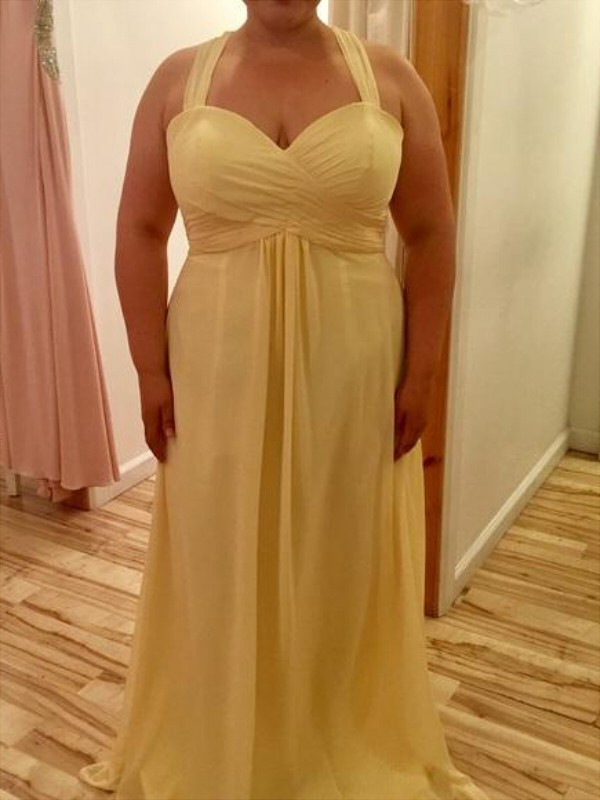 Yellow A-Line Halter Floor-Length Prom Dresses with Ruched
