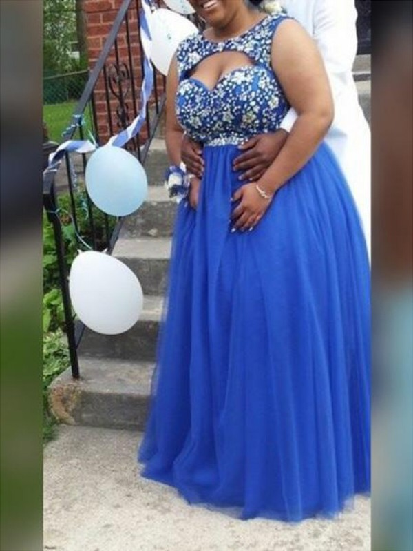 A-Line Scoop Floor-Length Blue Prom Dresses
