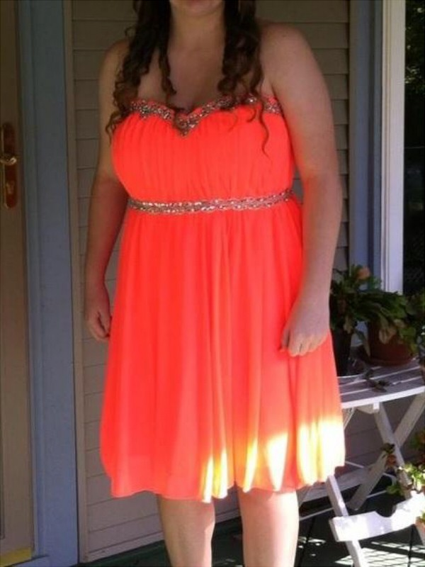 A-Line Sweetheart Knee-Length Orange Prom Dresses