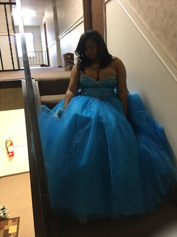 Ball Gown Sweetheart Floor-Length Blue Prom Dresses