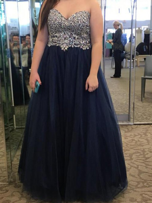 Sweetheart Floor-Length Dark Navy Prom Dresses with Beading