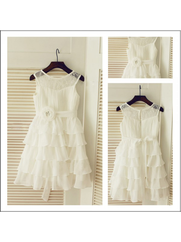 Chiffon A-Line Tea-Length Scoop Ivory Flower Girl Dresses